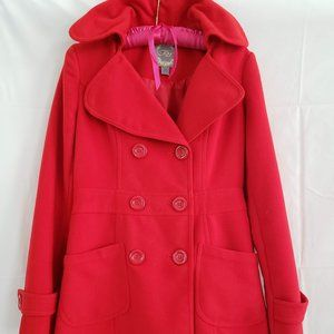 Forever 21, Double-Breasted Red Peacoat, Size S